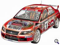 Mitsubishi Lancer Evo WRC cutaway - click to enlarge