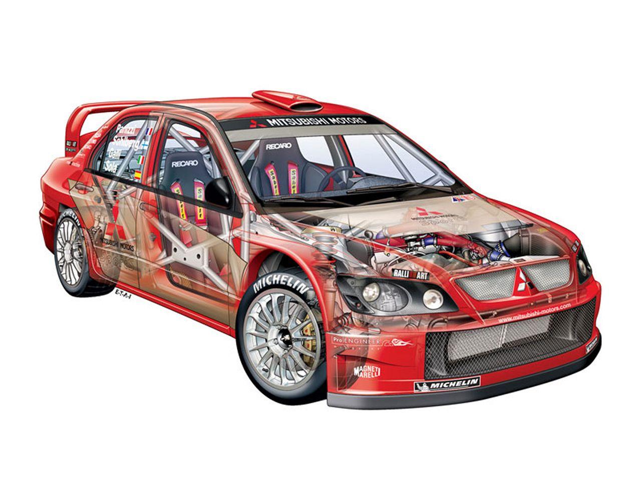 Mitsubishi Lancer Evolution WRC04 - Car Cutaway - Modern Racer ...